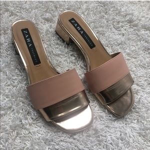 Zara Trafaluc Block Heel Slide On Sandals